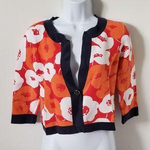 Ann Taylor Bolero Sweater Floral Cotton Medium